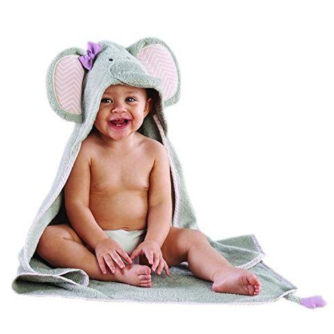 Baby Aspen 婴儿连帽可爱灰色大象纯棉浴袍
