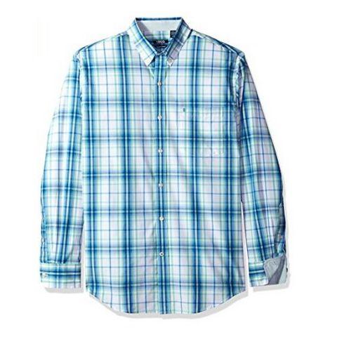IZOD 男士长袖格纹衬衫