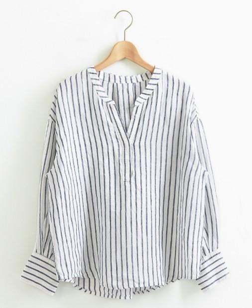 le coeur blanc 女士亚麻衬衫