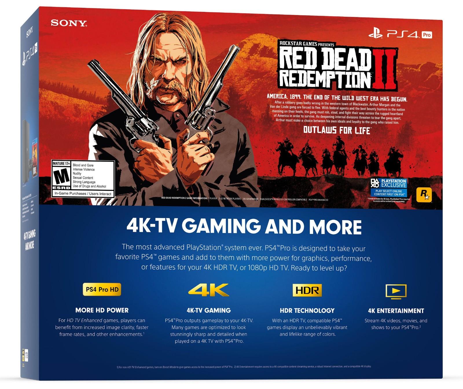 SONY 索尼 PlayStation 4 Pro PS4 Pro 游戏主机 《荒野大镖客2》同捆版
