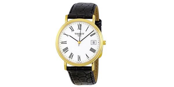 天梭Tissot男士金色表壳罗马数字腕表直降50美金