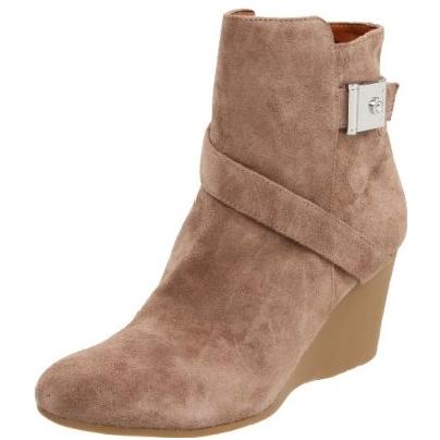 Calvin Klein女士真皮坡跟中筒靴