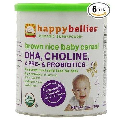 禧贝HAPPYBELLIES 超级谷物DHA+益生菌+胆碱有机糙米米粉 6罐
