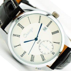 白色表盘黑色皮革手表
