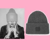 【 LISA ins同款】ACNE STUDIOS Pansy Face 贴花罗纹羊毛毛线帽 £108(约943元)