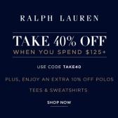 Ralph Lauren:美国官网精选全场单品 满$125立享6折+POLO衫额外9折