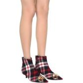 BALENCIAGA 巴黎世家红色格纹猫跟短靴 $507.5(约3,477元)