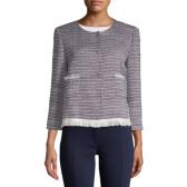 【不到3折】Max Mara 羊毛细格纹拼接设计外套 $160.99(约1,091元)