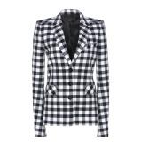 Paco Rabanne 黑白格纹垫肩西装外套 $1,150(约7,712元)