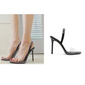 【泫雅同款】Alexander Wang 大王 PVC 黑色铆钉高跟凉鞋 $468(约3,231元)