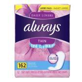 【第2件半价】Always 无荧光剂透气干爽超薄护垫 大包装162片 $6.74(约46元)