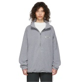 仅剩 XS 码!Essentials 灰色绒绒拉链卫衣 $90(约622元)