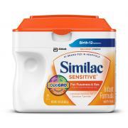 雅培敏感婴儿配方奶粉,添加铁,23.3 盎司(6 盒装)(具有不同包装)