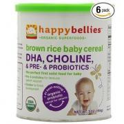禧貝HAPPYBELLIES 超級谷物DHA+益生菌+膽堿有機糙米米粉 6罐