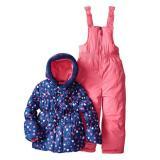 Pink Platinum小女孩女童夹克和冬裤摇粒绒内衬两件装