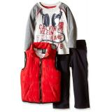 Calvin Klein Red Puffy Vest with Tee and Pants 男童三件套