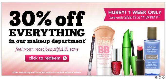 Drugstore官网化妆品促销,全场7折起优惠